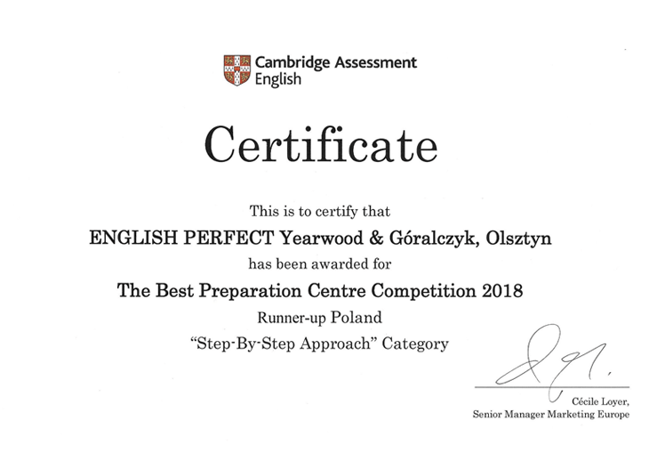 Cambridge Assessment Certificate English Perfect